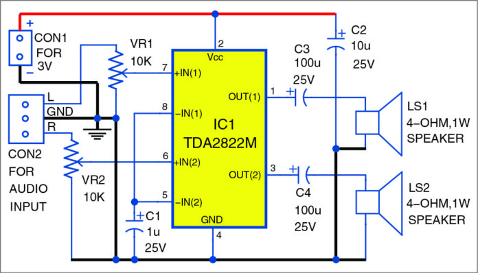 Stereo Amplifier Using TDA2822