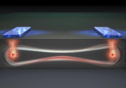 Artist's impression of a 'flip flop' qubit in an entangled quantum state. Illustration: Tony Melov