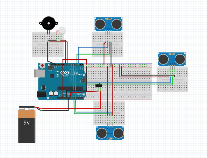 smart stick using arduino circuit diagram