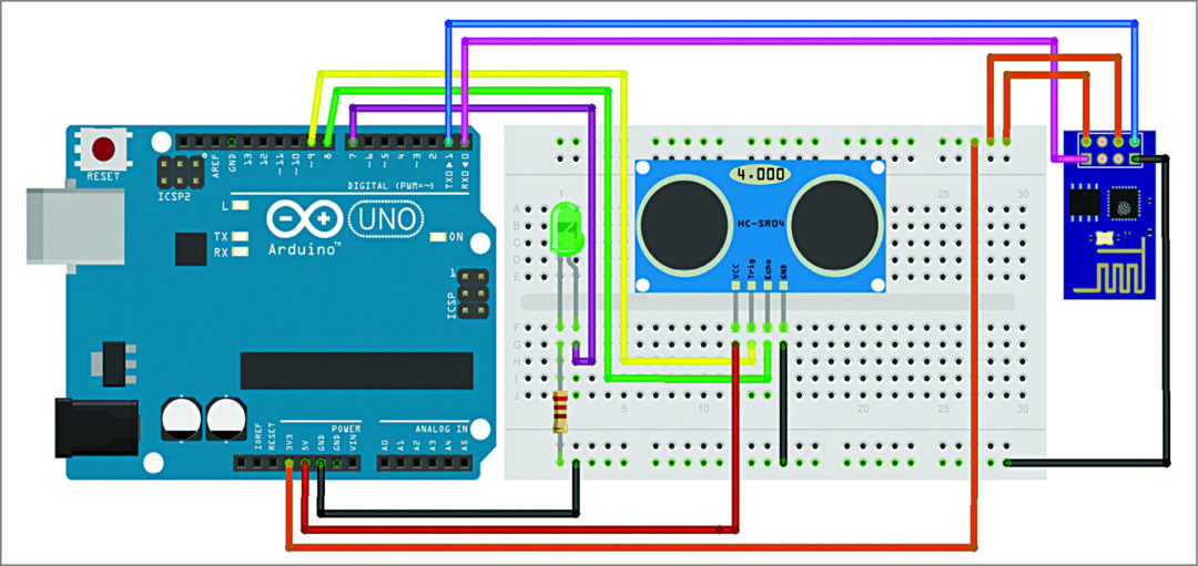 Illustration of Fritzing through Breadboard view (Image courtesy: http://fritzing.org)