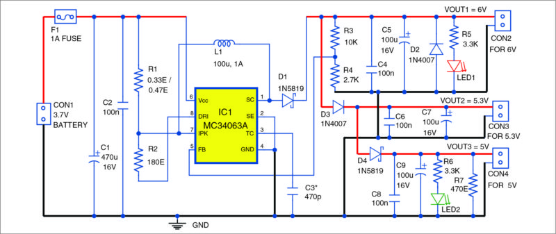 Circuit diagram of low-cost 3.7V to 5V-6V DC to DC converter