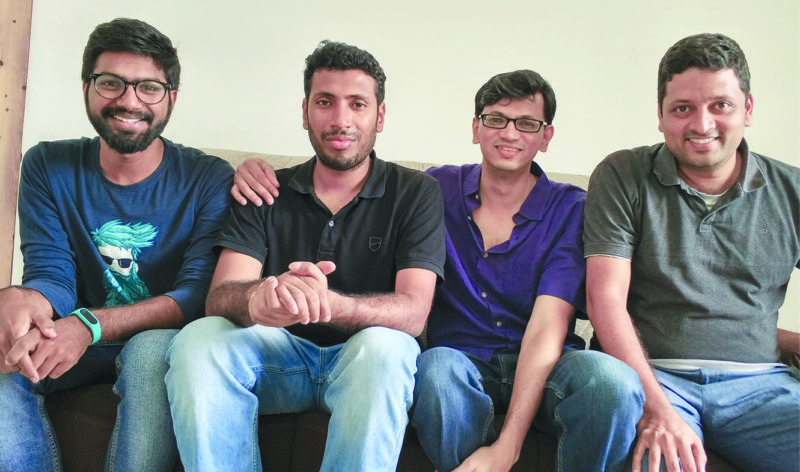 The Sensy team (left to right): Anshul, Hormis, Aditya and Bharath