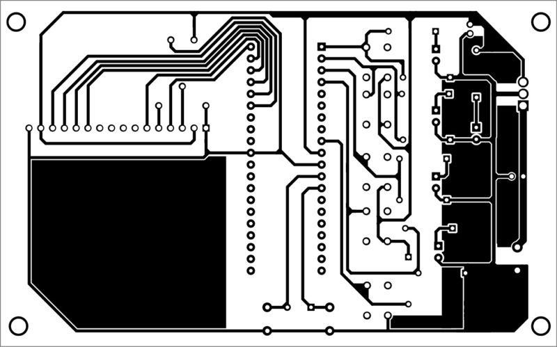 Single-side PCB layout of the voting machine using AVR