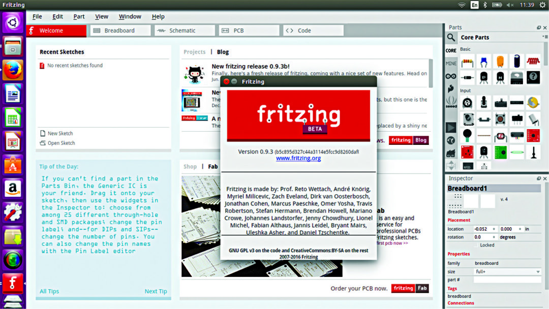 Fritzing parts library (Image courtesy: https://howto-ubuntunew.blogspot.in)