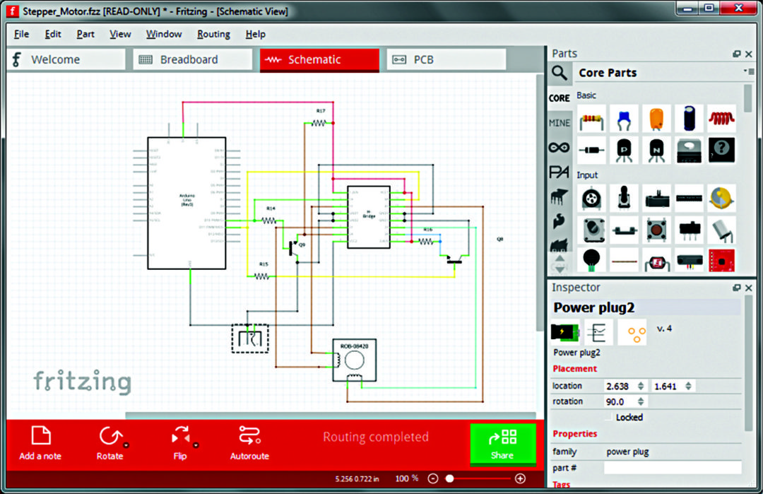 Schematic view of Fritzing (Image courtesy: http://blog.Fritzing.org)