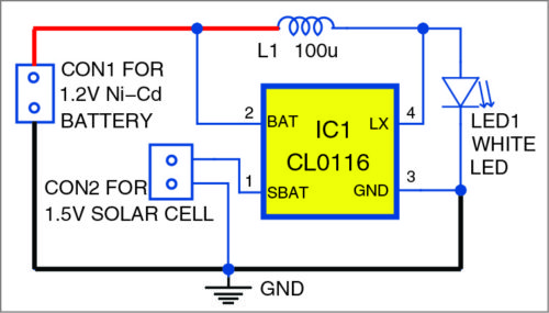 Circuit diagram of solar garden light
