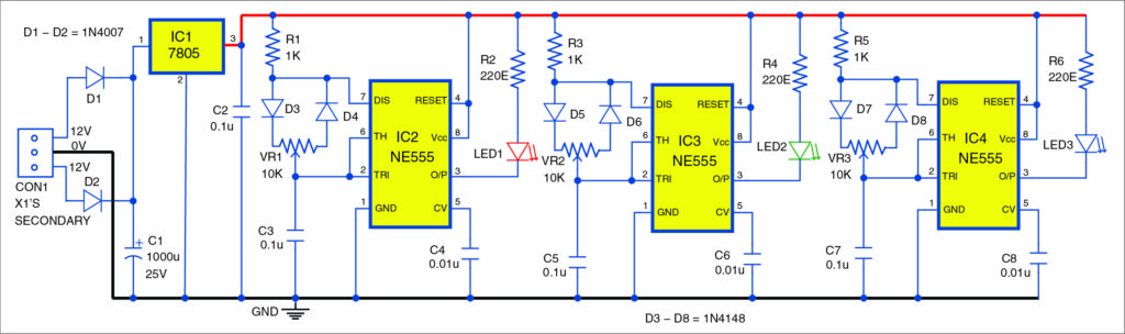 Circuit diagram for the RGB bulb using NE555 timer