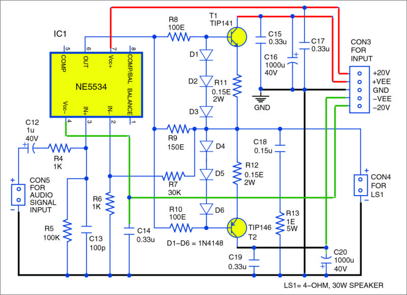 Circuit diagram of the 30w audio amplifier