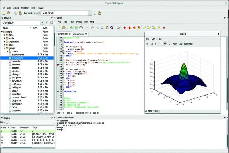 Octave debugging (Image courtesy: www.gnu.org)