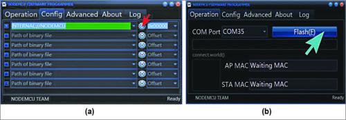 NodeMCU firmware flashing process: (a) In 'Config' menu of NodeMCU Flasher, add the NodeMCU bin file on 0x00000 column; (b) Press 'Flash' button under 'Operation' menu