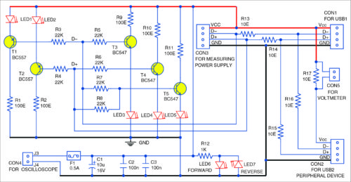 USB interface signal monitoring circuit