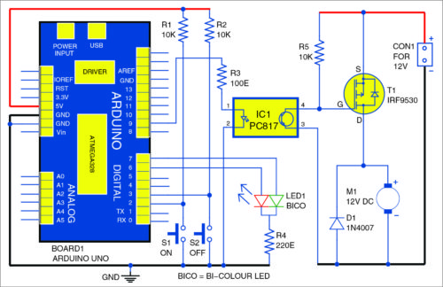 Circuit diagram of DC motor starter using Arduino Uno