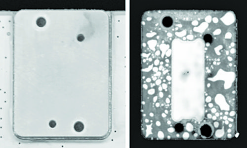 Optical (left) and acoustic (right) images of a heat-sink on the back of a printed circuit board