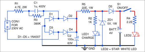 Circuit diagram of the egg candler