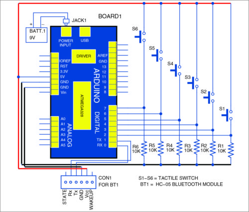 Bluetooth based remote control: transmitter unit circuit