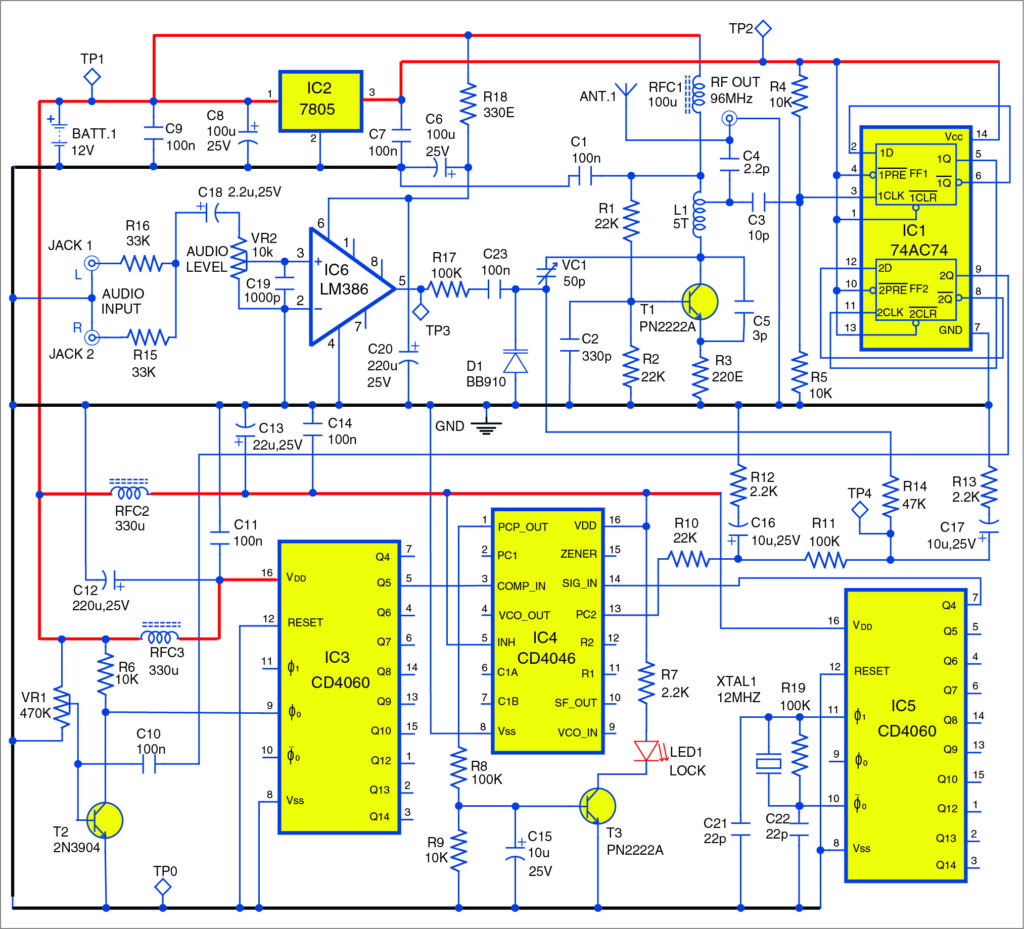 Circuit of the high fidelity FM transmitter