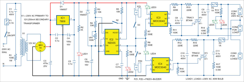 Circuit diagram of AC lamp blinker using timer NE555