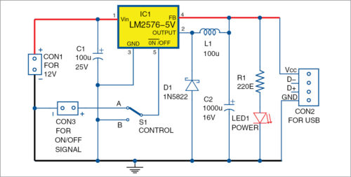Circuit diagram of add-on USB power circuit for UPS
