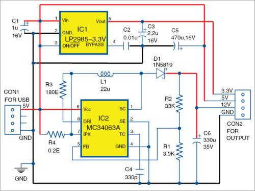 USB based triple power supply circuit