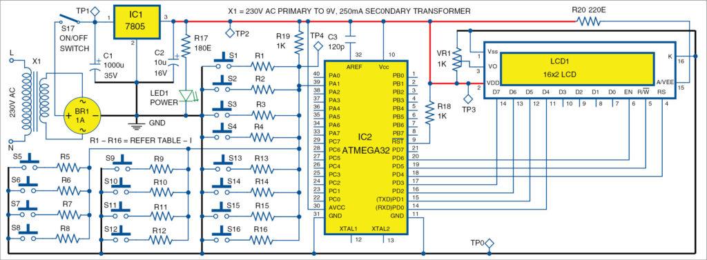 Circuit diagram of single-wire 4x4 keypad