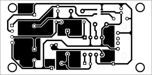 Actual-size PCB layout of the triple power supply