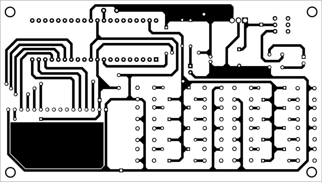 PCB layout of the single-wire 4x4 keypad