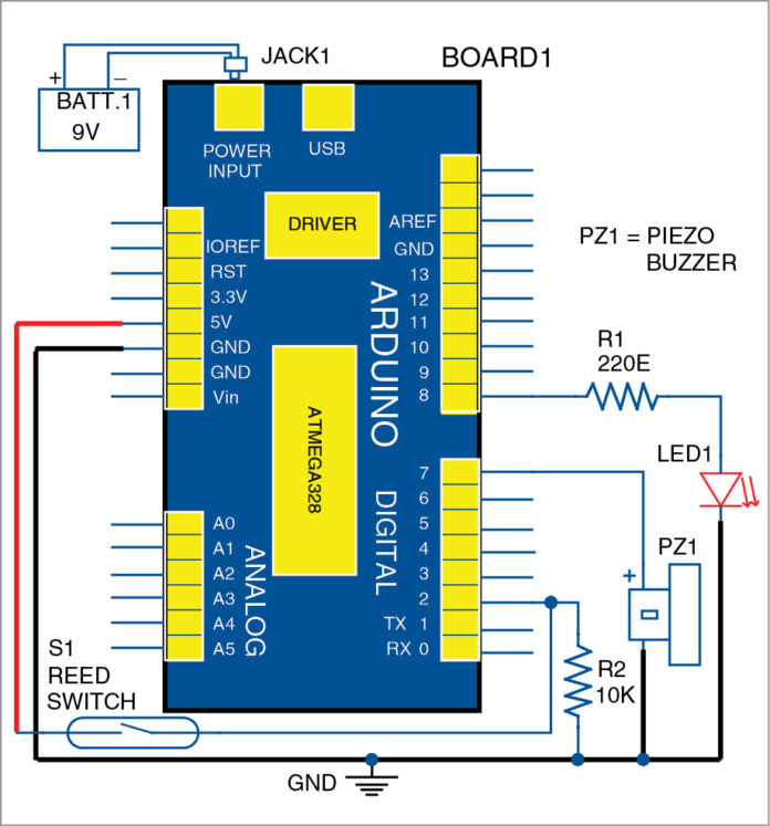 Arduino based visitor alarm project