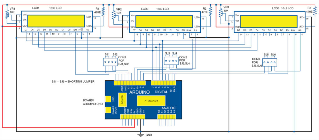 Circuit diagram for interfacing of multiple LCDs with Arduino