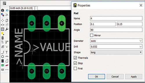 Eagle default IC pad size and shape