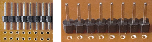 Two views of header pins aligned perfectly with the PCB holes