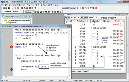 Use of pointer in MPLAB (Source: www.puntoflotante.net)