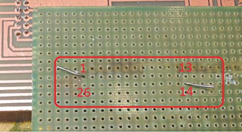 Aligning for 26-pin DIL header block