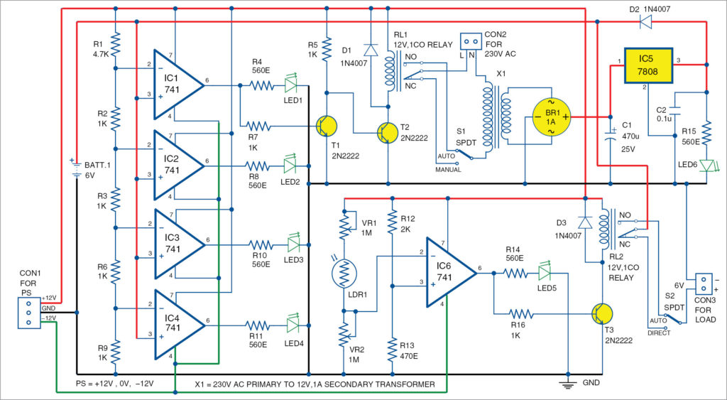 Circuit for automatic light and overcharging control