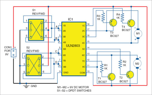 Circuit for ULN2803 Based Motor Driver