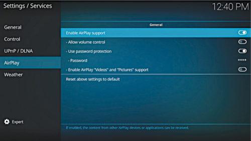 Enabling Airplay on Kodi