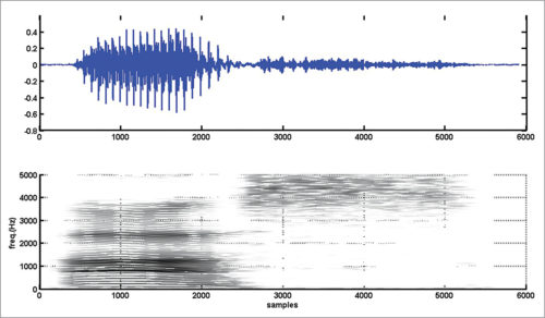 Narrowband spectrogram of vowel-consonant sound 'as'