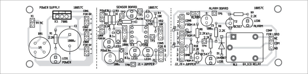 Components layout for the fire alarm PCB