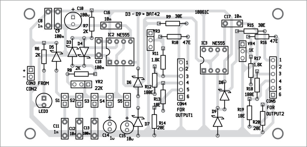 Components layout for the signal generator PCB