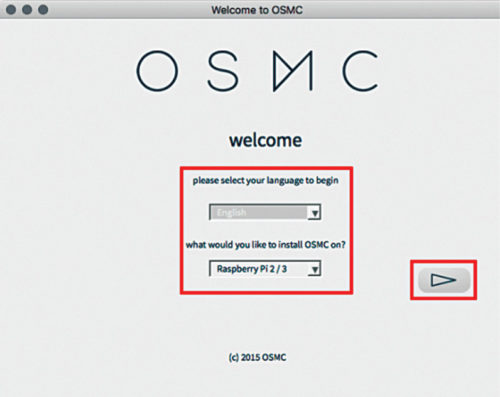 OSMC installation wizard