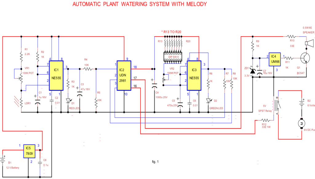Circuit for Automatic Plant Watering System with Melody