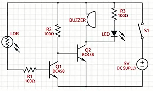 Fig. 3: Schematic Circuit diagram of the laser light security alarm system