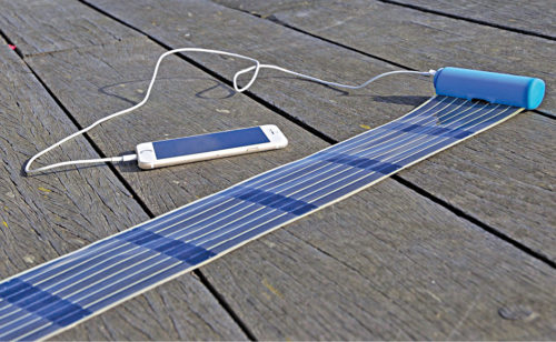Unfurl this thin, flexible organic photovoltaic panel and charge your phone or battery indoors or outdoors, then roll it back up for storage (Courtesy: infinityPV)