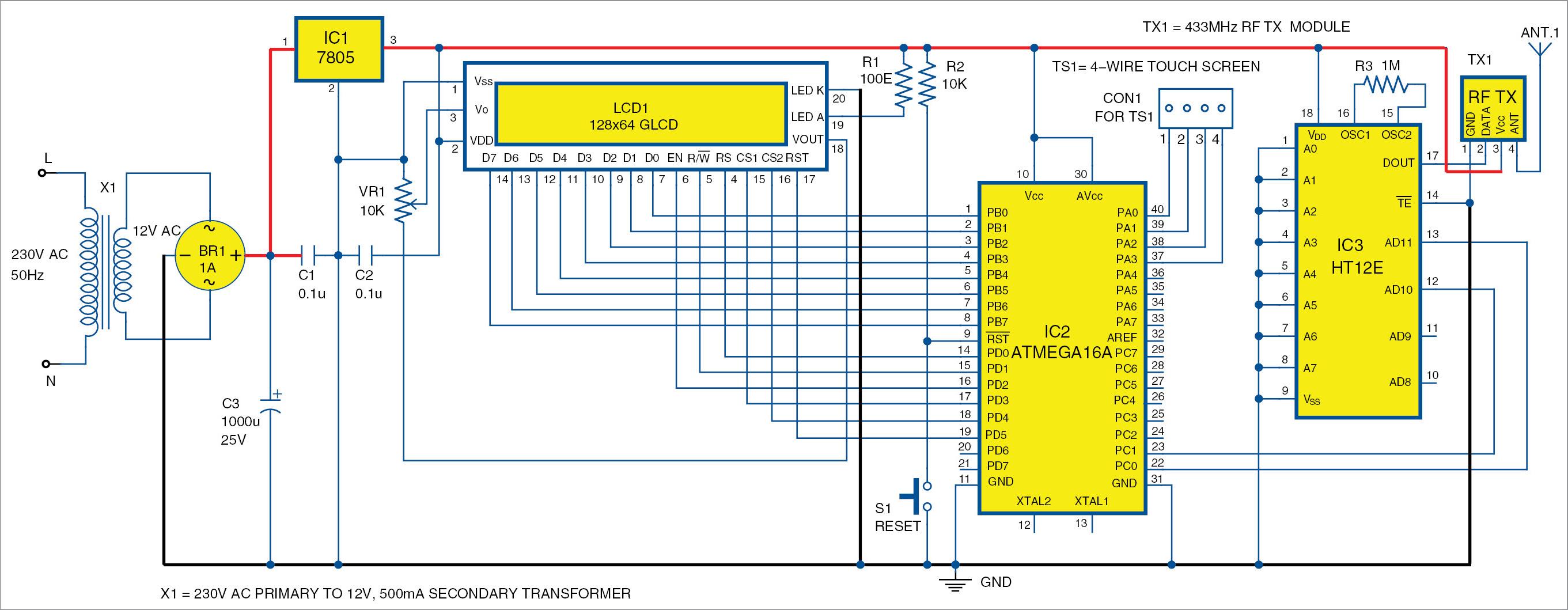 Circuit diagram of the transmitter
