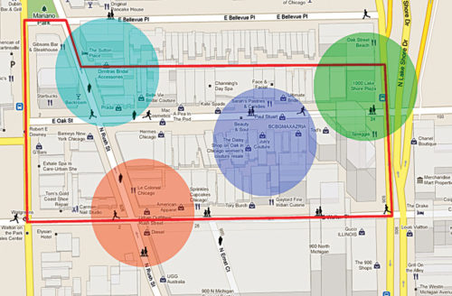 Colours—an innovative feature enables users to easily differentiate between geofenced areas