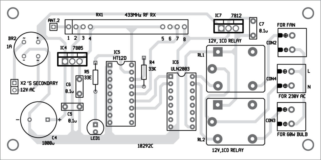 Components layout for the PCB (receiver section)