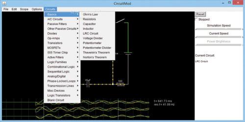 Options under 'Circuits' menu (Image source: www.softpedia.com)
