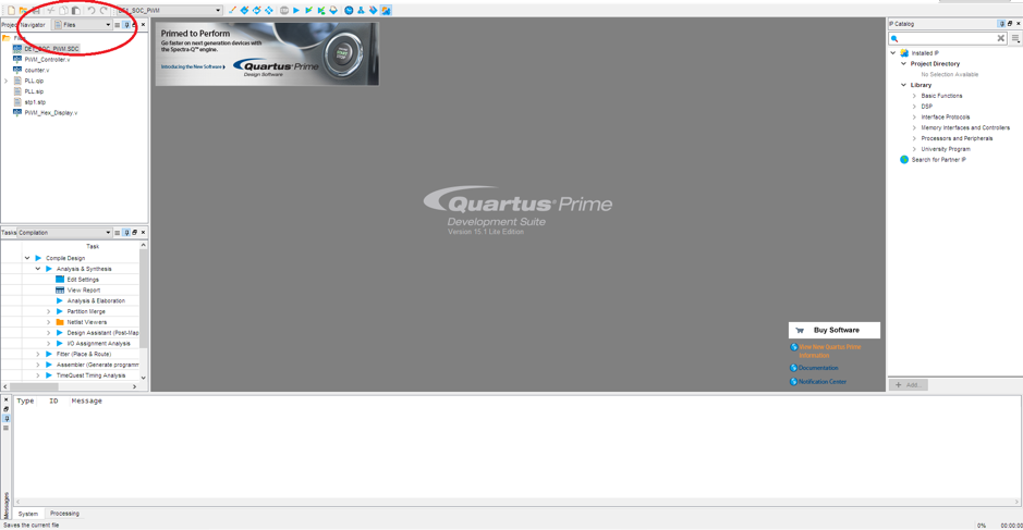 Project file open of Altera – Quartus II software