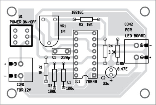 PCB layout of the battery-powered night lamp