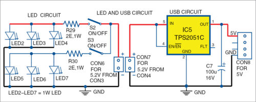 Power LEDs and USB charging circuit