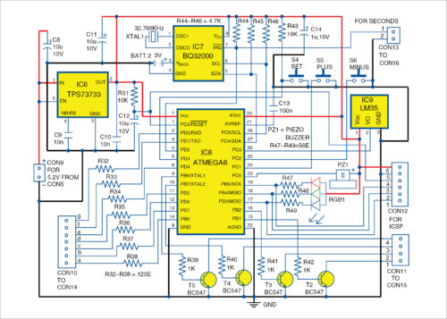 Main microcontroller digital clock circuit
